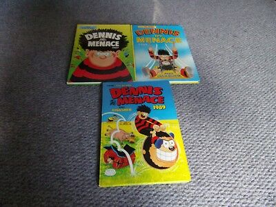 3 Dennis the Menace annuals from the Beano 1987. 88 ad 89