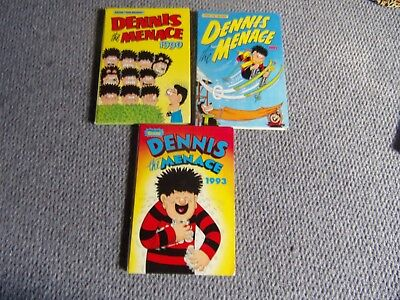 3 Dennis the Menace Annuals from Beano 1990. 1992 and 1993
