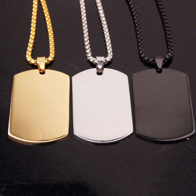 Dog Tag Stainless Steel Army ID Soldiers Pendant Chain Titanium DIY Necklace