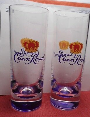 Set of 2 Crown Royal Tall Cocktail Glasses HARD TO FIND 7 1/4 IN TALL X 3 3/4 IN