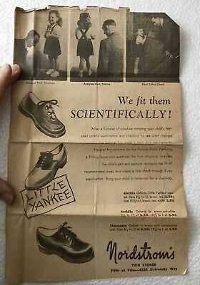 Vtg Nordstroms Newspaper Ad Childrens Shoes -Medical Quackery Foot X-ray Machine