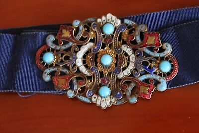 Antique Edwardian Brass turquoise & enamel  Belt Buckle