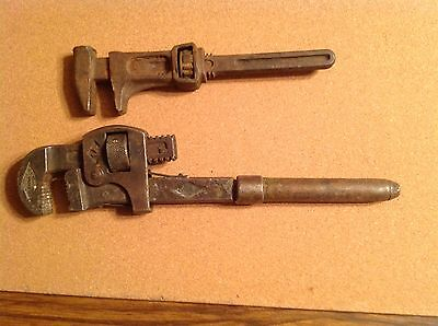 2 Adjustable Wrenches Vintage Old Antique One With Hammer Head