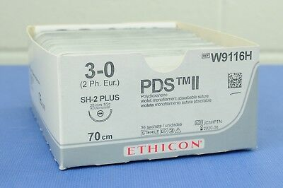 ETHICON W9116H PDS II Monofilament Absorbable Suture 3-0, 70cm Pack of 36