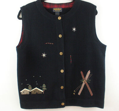 Woolrich Winter Scene Skiing Womens Size Large Black Cotton Blend Sweater Vest