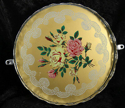 vintage metal tray removeable bottom rose detail 8 inches across no feet retro