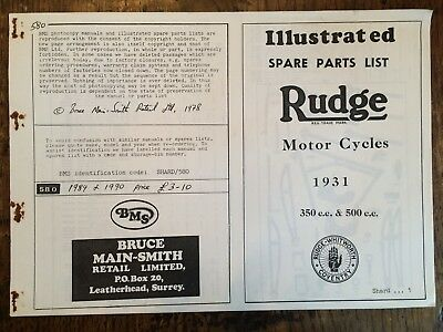 Illustrated Spare Parts List for Rudge Motor Cycles 1931 (BMS Photocopy)