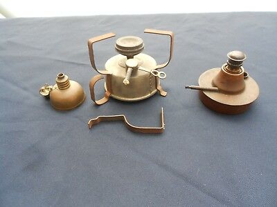 3 Vintage Copper Burners or Lamps ( One marked Glogau & Co. Chicago USA)