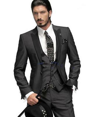 Tuxedos Best Peak Black Lapel Groomsmen Wedding Suit Jacket Pants Vest Tie K4776