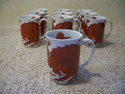 Fitz and Floyd Temple Dragon Mugs Made in Japan Lot of 10 Unused