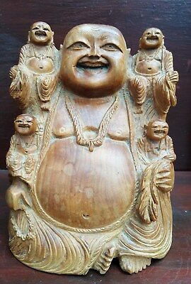 Chinese antique/ vintage hand carved wooden Buddha with children