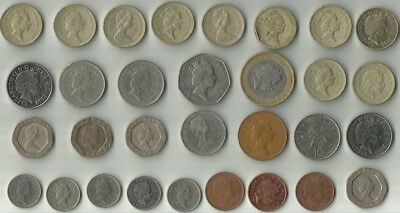 Lot of 30 British pounds, pence and pennies and 25 cents Canada