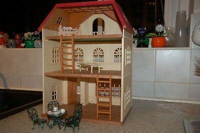 sylvanian families cedar terrace boxed with some furniture etc