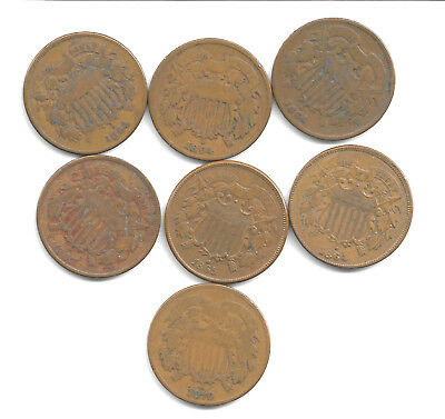 7~Nice 2 Cent Copper Coins~Pieces~Penny~Two Cent~1864~1865~1867~1870~U.s.