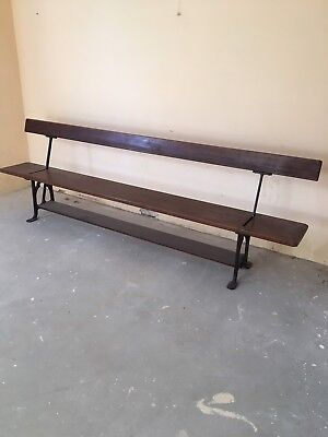 Tram Bench Pitch Pine Cast Iron Reversible Back