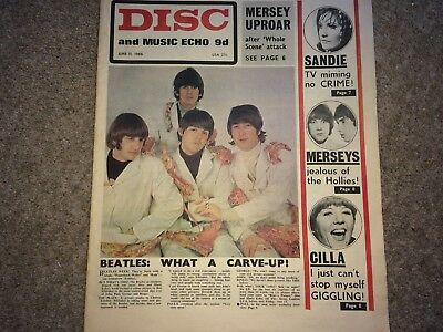 Disc & Music Echo June 11 1966 The Beatles Butcher Cover Rock Magazine Paper