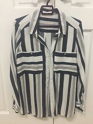Worn once Next Ladies white, navy, silver and grey Striped Shirt Blouse Size 12