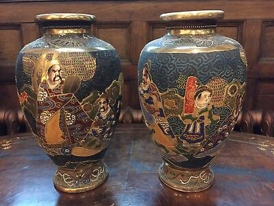 Pair of Large Vintage Satsuma Vases With Gilded Detail