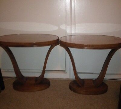 Pair French Art Deco End Tables 1930's Style Ruhlmann Adnet Pascaud Rohde MCM
