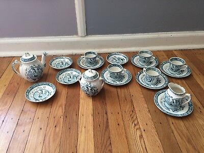 Antique Victorian Staffordshire Allerton Blue May with Apron Childs Tea Set