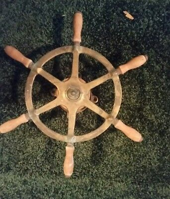 Vintage Brass and Wood Lobster Boat Ship's Wheel