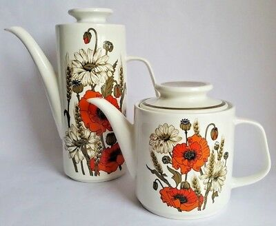 Vintage J&G Meakin Studio 'Poppy' Tea & Coffee Pots