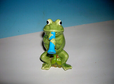 Vtg Frog Playing Musical Clarinet original tag hand decorated A 409 TOO CUTE