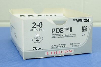 ETHICON W9125H PDS II Monofilament Absorbable Suture 2-0, 70cm Pack of 24