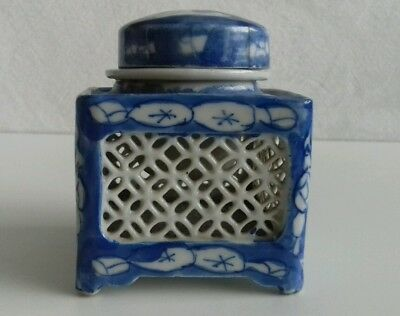 Antique Chinese Porcelain Blue White Open Lattice Squared Inkwell