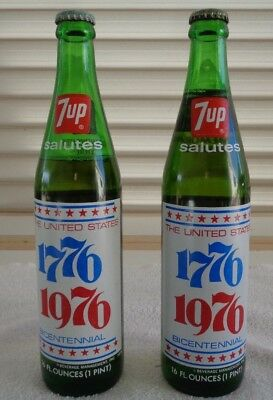"""2"" 7 Up Salutes The United States 1776-1976 Bicentennial Commemorative Bottle"