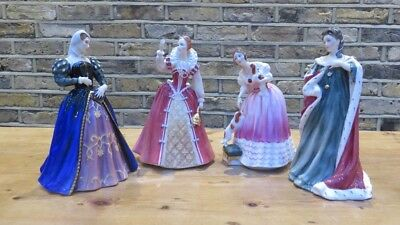 Royal Douton Queens Of The Realm Set Of 4 Anne, Mary, Elizabeth I & Victoria