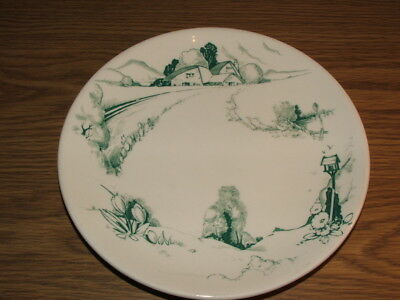 Keeling & Co Ltd - Losol Ware - Plate - Green & White - Flowers - Birds
