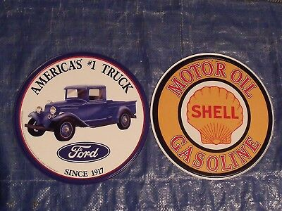 °2 Superbes Plaques U.s.a. America's Truck Fords - Motor Oil Shell°
