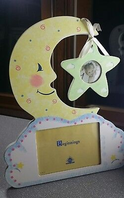 Fetco Beginnings Moon and Star double picture frame for baby + wall appliques