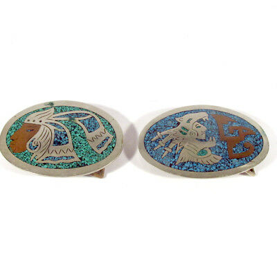 Pair Vintage Mexico Belt Buckles with Crushed Turquoise