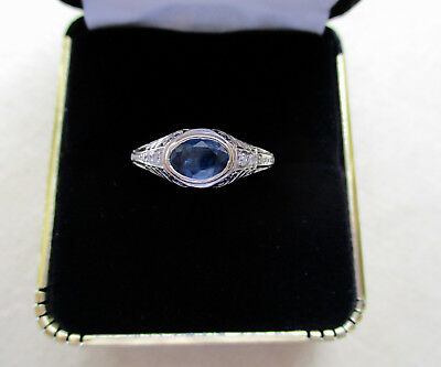 Art Deco Platinum Sapphire and Diamond Ring - Antique - GAL Appraisal Included