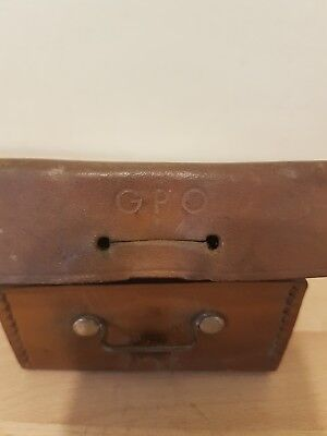 Antique / Vintage GPO Collectible Leather Case with some repair parts inside