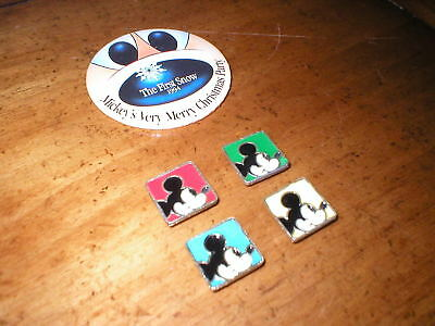 4 Adorable Mickey Mouse Button Covers Plus The First Snow 1994 Large Pin