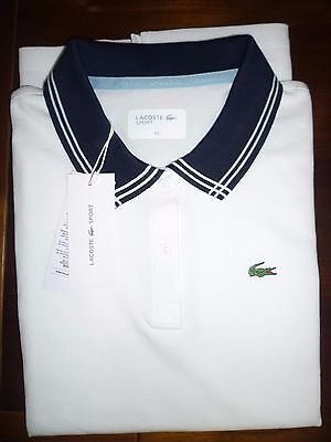 Lacoste Ladies White and Navy Polo Shirt Size 42 UK 14 New with Tags