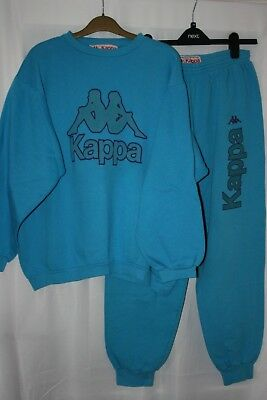 Kappa Mens Extremely Rare Full Vintage Tracksuit Top+Bottom Size Large Blue WooW