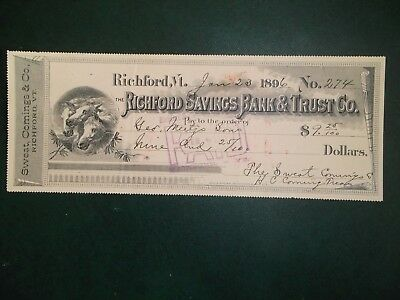 Richford Savings Bank & Trust Co. Jan. 23, 1896. Richford Vt.