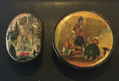 2x 19th Century Paper Mache Snuff Boxes (1x Hinged)