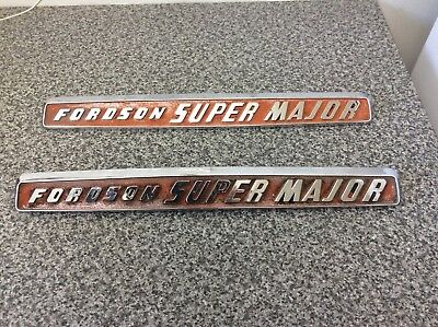 Fordson Super Major Tractor Bonnet Badges Look Original With Retaining Clips