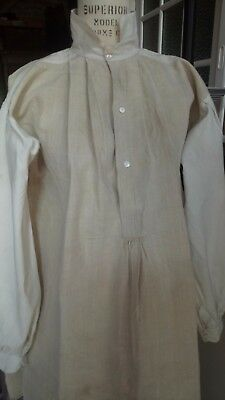 CHEMISE 1900 ANTIQUE FRENCH LINEN HEMP SHIRT TUNIC DRESS WORK CHORE 19th