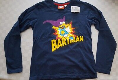 The Simpsons Bartman Boys Navy Long Sleeved Tshirt Top Size 8-10 Years