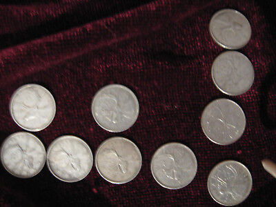 Lot   SILLVER  Canadian Quarters (10) each +  one dime