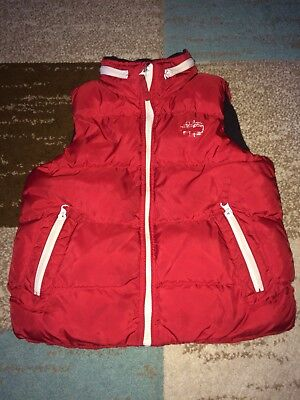 BOYS RED TIMBERLAND THICK PADDED BODY WARMER With Hood Gilet Age 6