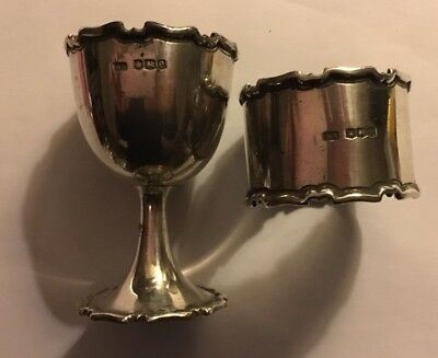 sterling silver Eggcup And Napkin Ring. Hallmarked 1922