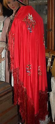 Châle 1920 franges 20s piano shawl squareshape silk scialle sposa schal edelweis