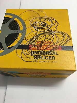 Kodak Presstape Universal Splicer #D550 for 8mm Super 8 & 16mm w Tapes & Orig Bx
